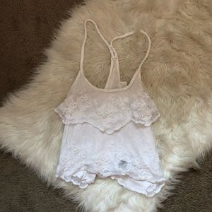 Abercrombie & Fitch Tops - Abercrombie White Lacey Crop Top